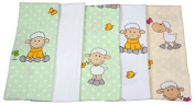 ByBUM® - Molton cloths - flannel nappies - sickly cloths - colourful, fluffy, soft - 70x80 cm - pack of 5, 100% cotton; MADE IN EU, Colour:Green - Sheep