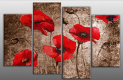 Large Red Poppy Floral Painting on Brown Grunge style Canvas artwork 4 pieces multi panel split canvas completely ready to hang , hanging template included for easy hanging, UK company 100cm width 70cm height