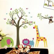 Discountfan Large Colourful Tree & Jungle Animals Wall Sticker Nursery Bedroom Wall Art Decor Cute Giraffe Monkey Owl Tree Art Wall Stickers Kids Room Removable Decal Baby Bedroom Wall Art
