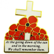 Remembrance Day White Cross and Red Poppy Flower Lapel Pin Badge REMEMBER THEM
