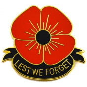 Remembrance Day Red and Gold Colour Poppy Flower Lapel Pin Badge Black Ribbon LEST WE FORGET
