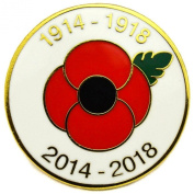 WW1 1914 - 2014 Centenary Red and Gold Colour Poppy Flower Lapel Pin Badge Remembrance Day