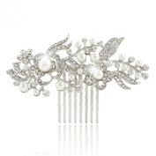 Ever Faith Crystal Vintage Style Flower Ivory Simulated Pearl Hair Comb