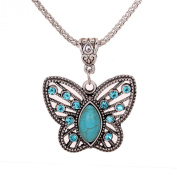 Turquoise and Silver Butterfly Pendant Necklace