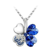 Sapphire Blue Crystal Four Leaf Clover Pendant. Elements Necklace with 46cm Silver Plated Chain