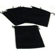 Findingking 6 Pouches Black Velvet Drawstring Jewellery Bags 13cm
