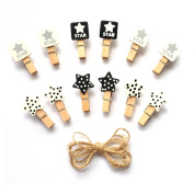 LWR Crafts Wooden Mini Clothespins Stars 24 Pieces and Jute Cord 2.4m