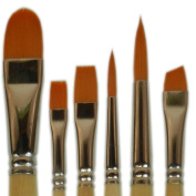Student Golden Synthetic Combo Set 6 Pcs Brushes Oval 1.9cm , Shaders 6 & 10, Rounds 6 & 10, Angle 1cm