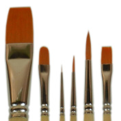 Student Golden Synthetic Combo Set 6 Pcs Brushes Wash 1.9cm , Filbert 6, Rounds 10/0, 2, 6, Shader 6