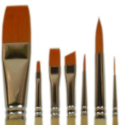 Student Golden Synthetic Combo Set 7 Pcs Brushes Wash 1.9cm , Flats 2 & 6, Angle 0.6cm , Rounds 2 & 8, Liner 10/0