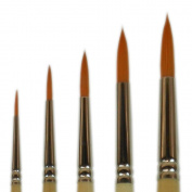 Student Golden Synthetic Rounds Brushes Set Sizes 2,4,6,8,10