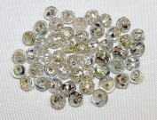 Jamsons Beads - 50 Pieces / Pack - 6-7mm Faceted Silver Foiled Glass Beads - Hand Crafted & Cut Glass Beads
