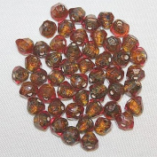 Jamsons Beads - 50 Pieces / Pack - 8 X 7mm Faceted Drop - Silver Foiled Glass Beads - Hand Crafted & Cut Glass Beads