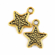 SUNYIK 50pcs Gold Tone Stars Starry Charms Findings