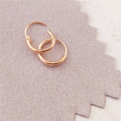 Ultra Small HOOP Earrings, ROSE GOLD over silver, 8 mm, endless hoops,nose,cartilage,ears,lips