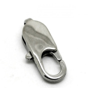 5pcs Silver Tone Stainless Steel Oval Lobster Clasps.18mm x 9mm