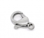 10pcs Silver Tone Stainless Steel Lobster Clasps 10x6mm
