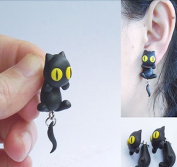 Handcraft Polymer Clay Cats on Ear Personality Earrings Colour Black