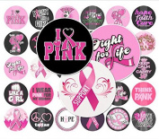60 Precut 2.5cm BREAST CANCER AWARENESS Bottle Cap Images B