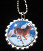 3.8lOPING HORSE Bottle Cap NECKLACE for Birthday Party Favour FLAT11