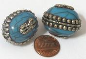 Large size Tibetan silver encased blue crackle resin reversible bead with tibetan dorje vajra symbol - 1 BEAD - BD 472