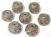 1 BEAD - Thick cylindrical rondelle shape nepal brass beads - BD528
