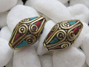 4 Beads - Beautiful bicone brass beads with turquoise coral inlay - BD025