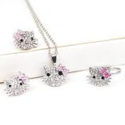 niceEshop(TM) Silver Kitty Rhinestone Crystal Fashion Jewellery Set with Pink Bow - Ring+Earrings+Necklace 3 in 1 Set +Free niceEshop Cable Tie