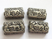 1 BEAD - Rectangular cube shape Tibetan silver repousse forest animal design bead - BD595G