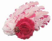 Colourful Baby's headband Girl's headwear Feather Chirsmas-white and pink rose