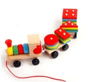 Colourful Educational Wooden Toy Intellect Small Train Building Blocks Gift 1pc