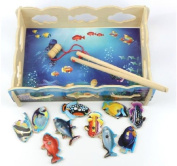 Wooden Toy Fishes Happily Game Magnetic Wood Toys Gift Combination Sea Fish 1set