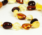 Multicolor Olive-shaped Baltic Amber Teething Handmade Knotted Necklace for Your Baby