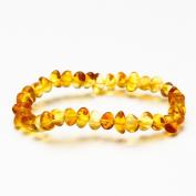 Baby Teething Anklet Bracelet on Elastic String, Rounded Baltic Amber Honey Beads