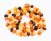 Rounded Multicolor Baltic Amber Handmade Knotted Healing Necklace for Mother