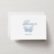 Crane & Co. Letterpress Blue Pram Thank You Note