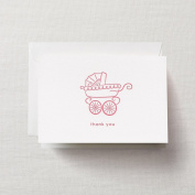 Crane & Co. Letterpress Pink Pram Thank You Note