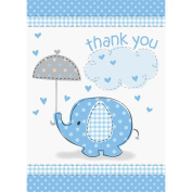 Unique Baby Shower Thank You Notes - Blue Umbrellaphant