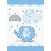 Unique Baby Shower Thank You Notes - Blue Umbrellaphant