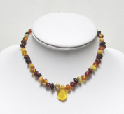 Genuine Natural Baltic Amber Baby Kids Teething Necklace Multicolour4 Baroque With Pendant By Amber Corner