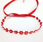 Flower Wrap Headband with. Crystals, Red