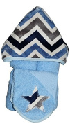 Tickle Toes - Denim Chevron Hooded Towel on Blue
