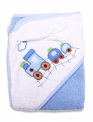 Spasilk 100% Cotton Hooded Terry Bath Towel, Blue Train