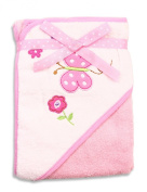 Spasilk 100% Cotton Hooded Terry Bath Towel, Pink Butterfly