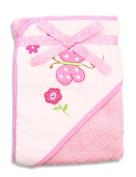 Spasilk 100% Cotton Hooded Terry Bath Towel, Pink Butterfly