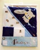 Rene Rofe Baby Bon Bebe 4 Pc Bath Set Bath Super Soft Terry Blanket & 3 Washcloths