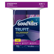 Huggies GoodNites Tru-Fit Real Underwear with Nighttime Protection Starter Pack for Girls, Small and Medium, 7 Count