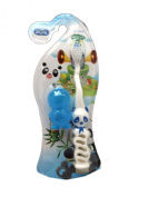 Small Blue All Pure Kids Panda Toothbrush with Travel Cap