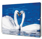 Diy home decor digital canvas oil painting by number kits Two Swan 16*50cm .