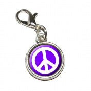 Graphics and More Peace Sign Symbol Purple Antiqued Bracelet Pendant Zipper Pull Charm with Lobster Clasp